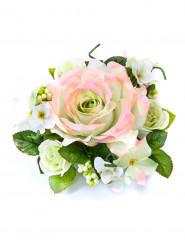 Centrotavola di fiori artificiali rosa e avorio