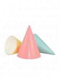 Lotto da 6 cappelli a punta multicolore in colori pastello