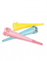 Confezione 6 trombette colorate 20 cm