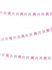 Mini ghirlanda di bandierine grigie e rosa 2 metri