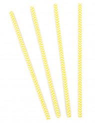 10 Cannucce di cartone motivi a zig-zag gialli e bianchi