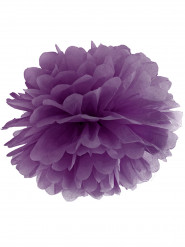 Ponpon da appendere di carta viola 35 cm