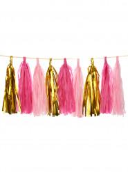 Festone con 18 nappe ponpon rosa fucsia e oro