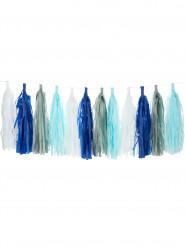 Ghirlanda nappe con 24 pompon blu bianchi grigi  celesti