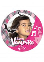 Disco di zucchero personalizzabile vampiro rosa