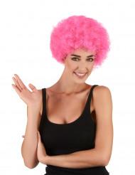 Parrucca per adulto afro rosa
