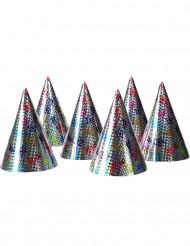 6 cappelli da festa olografati con stelle