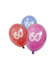 8 palloncini colorati per festeggiare i 60 anni