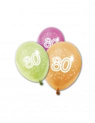 8 palloncini di compleanno 80 anni