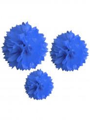 3 pompon in carta di color blu con diametro da 20, 30 e 40 centimetri