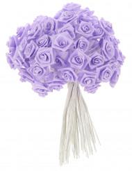 72 mini rose in raso lilla