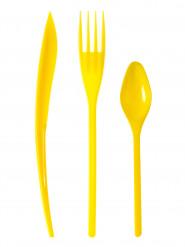 30 posate in plastica gialla