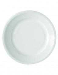 50 piatti bianchi di plastica 22 cm