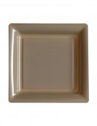 12 piattini quadrati di plastica tortora 18 cm