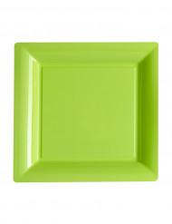 12 piattini quadrati di plastica verdi 18 cm