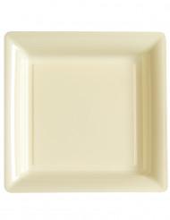 12 piatti quadrati di plastica avorio 23.5 cm
