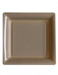 12 piatti quadrati di plastica color talpa