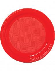 30 piatti di plastica rossi
