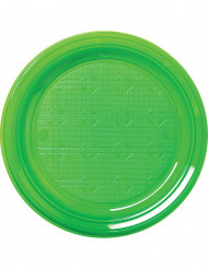 30 piatti di plastica verdi 22 cm