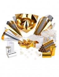 Busta di cotillons per 10 persone oro e argento
