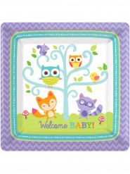 8 piatti di carta Welcome Baby 26 cm