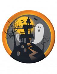 8 Piatti di carta castello stregato - Halloween