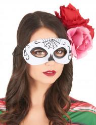 Maschera bianca e nera Dia de los muertos per adulti