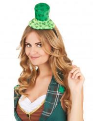 Cerchietto con mini cappello verde con trifogli per adulto