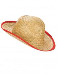 Cappello cowboy con bordo rosso adulto