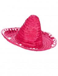 Sombrero rosso con pompons lungo i bordi per adulto