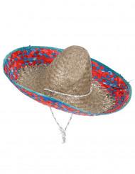 Sombrero messicano con bordi blu e rosa per adulto