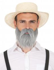 Baffo e barba grigia per adulto