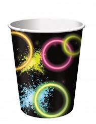 8 bicchieri di carta Fluo Party