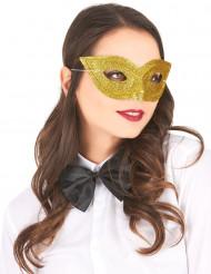Maschera veneziana dorata con brillantini adulto