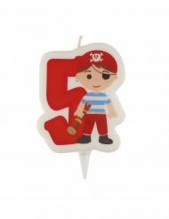 Candelina di compleanno pirata numero 5