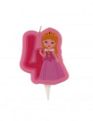 Candelina di compleanno con principessa numero 4