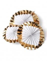 3 rosoni bianchi con bordi oro di 30, 25, 20 cm