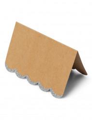 8 segnaposto in carta kraft e paillettes argento di 9 x 6 cm