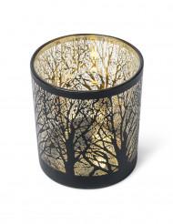 Portacandele nero e oro con alberi 7,5 cm