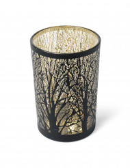 Portacandele con albero in nero e oro