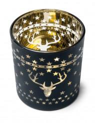 Portacandela cervi e stelle oro e nero