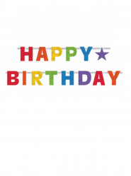 Festone multicolore Happy Birthday in cartone