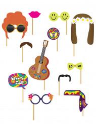 Kit photobooth 12 pezzi hippie