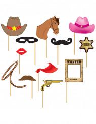 Kit photobooth western 12 pezzi