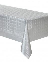 Tovaglia di carta damascata in rotolo color argento 6 m
