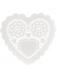 12 centrini di carta bianchi con cuore