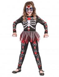 Costume scheletro con fiori bambina