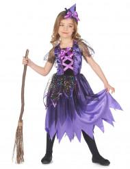 Costume da strega viola polvere di stelle bambina