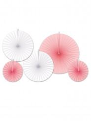 5 rosoni di carta rosa e bianchi