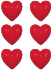 6 piccole candele a forma di cuore